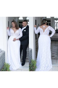 Beautiful Sexy Deep V neck Long Sleeves Unique Back Sheath Lace Plus Size Wedding Dress