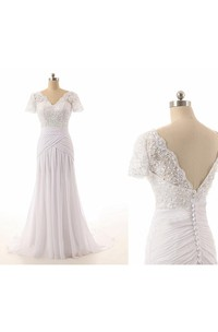 Sheath Tea-Length Bat Beading Appliques Chiffon Tulle Lace Dress