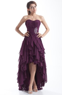 chiffon ruched high-low dress with cascading ruffles and beading