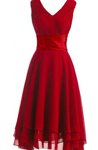 V-neckline Pleated Layered Dress With Satin Belt