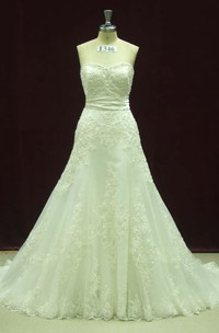 Sweetheart Button Back Long Chiffon Wedding Dress With Sash And Appliques