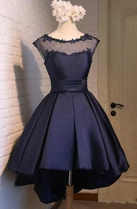 A-line Bateau Cap Short Sleeve High-low Satin Prom Dress with Appliques and Beading