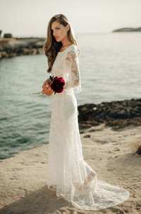 Ethereal Sheath Bat Sleeve Wedding Dress with Low-V Back and Sweep Train