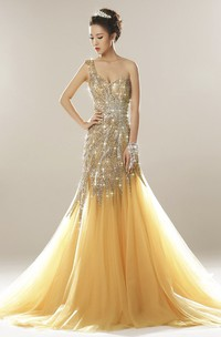 One Shoulder Open Back Luxury Tulle Mermaid Gown With Beading And Appliques