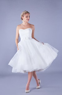 Simple Organza Aline Strapless Zipper Back Bridal Gown