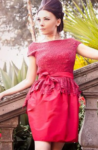 Backless Lace&Taffeta Dress With Peplum&Zipper
