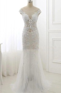 Trumpet Cap Sleeve Tulle Dress With Beading&Sequins