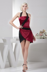 Sleeveless Pencil Short Dress with Halter and Beading