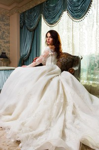 Ball Gown Tulle Lace Satin Weddig Dress With Beading