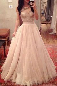 A-line Sweetheart Pleats Long Tulle Lace Dress