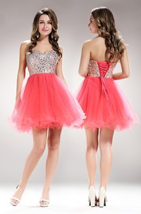 A-Line Short Sweetheart Sleeveless Tulle Lace-Up Dress With Beading And Ruffles