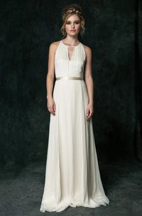 Sexy Chiffon Halter Sleeveless Bridal Gown with Sash