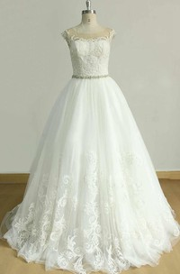 A-Line Cap Sleeve Tulle Lace Dress With Beading Sash Ribbon