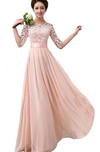 Scoop Long Bridesmaid Gown With Lace Bodice and Belt