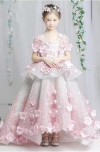 Ball Gown Floral Organza and Tulle Scoop-Neck Tier Flower Girl Dress