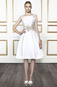 Bateau Midi Appliqued Satin Wedding Dress With V Back