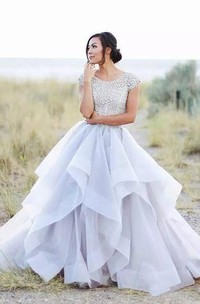 Adorable Country Style Organza Ruffled Cap-sleeve Ball Gown Wedding Dress