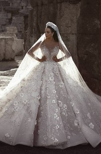 3D Floral Luxury Illusion Long Sleeve Bridal Ballgown With Beading And Appliques