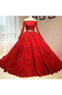 Ball Gown Off-the-shoulder Illusion Long Sleeve Floor-length Lace Tulle Prom Dress with Appliques