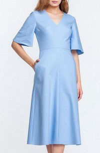 2018 Trendy Bell Sleeve Tea-length Dress With Pockets