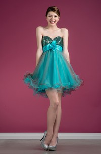 Muti-Color A-Line Short Sweetheart Sleeveless Tulle Dress With Sequins And Ruffles