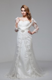 Sweetheart Lace A-Line Gown with Broach and Illusion Sleeves