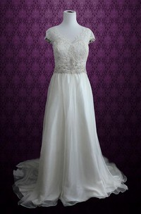 V-Neck Cap Keyhole Back Long Chiffon Wedding Dress With Appliques And Bow