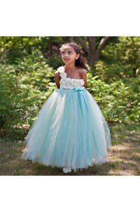 Floral One Shoulder Pleated Tulle Aqua and Champagne Flower Girl Dress