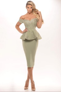 Pencil Off-The-Shoulder Peplum Knee-Length Satin Prom Dress With Low-V Back And Appliques