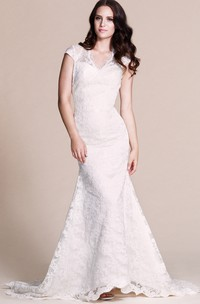 Cap-sleeved Mermaid Lace Dress With Keyhole Back