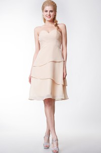 Sweetheart Layered Knee Length A-line Chiffon Dress