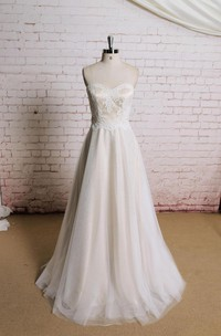 Sweetheart A-Line Tulle Wedding Dress With Champagne Underlay