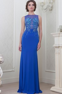 Sheath Sleeveless Jewel-Neck Long Jersey Evening Dress