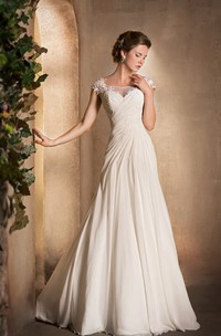 A-Line Scoop-Neck Cap-Sleeve Chiffon Dress With Ruching And Appliques
