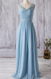 V Neck A-line Pleated Chiffon Floor Length Dress With Bandage