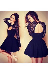 Sexy Halter Long Sleeve Short Homecoming Dress With Lace