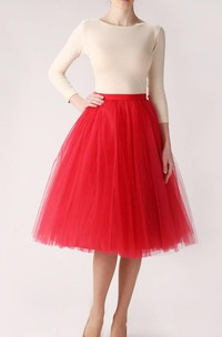 Red Tulle Skirt Handmade Long Skirt Handmade Tutu Skirt High Quality Skirt Tea Length Petticoat Tea Length Skirt Dress