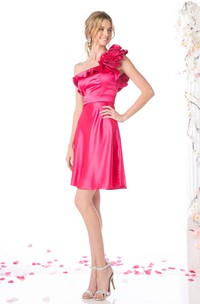 Sheath Short One-Shoulder Sleeveless Satin Dress With Flower