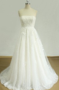 A-Line Scoop Tulle Lace Satin Weddig Dress With Beading