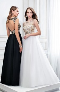 Sleeveless Scoop Neck Crystal Satin Prom Dress With Keyhole