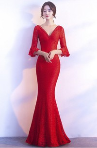 3/4 Poet Sleeve Sexy Mermaid Gown With Deep V-neck And Straps Back