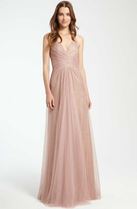Sleeveless V-Neck Maxi Tulle Bridesmaid Dress With Criss Cross