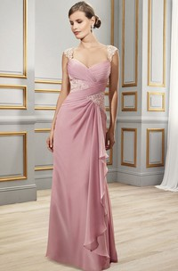Floor-Length Ruched Queen-Anne Satin Chiffon Formal Dress With Appliques And Draping