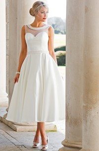 A-Line Tea-Length Sleeveless Jeweled Scoop Neck Satin Wedding Dress