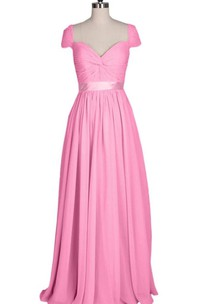Cap-sleeve Sweetheart Ruched A-line Gown With Satin Band