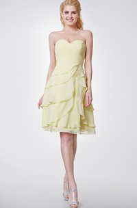 Simple Style Sweetheart Layered A-line Knee Length Chiffon Dress