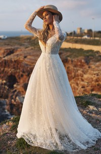 Illusion Long Sleeve Plunging Ethereal Deep V-back Lace A-line Wedding Dress