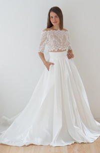Off-The-Shoulder Lace A-Line Satin Two-Piece Wedding Dress With Sweep Train