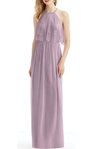 High-neck Lace Bodice Chiffon Floor-length Bridesmaid Dress