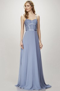 A-Line Spaghetti Appliqued Floor-Length Sleeveless Chiffon Bridesmaid Dress With Zipper Back